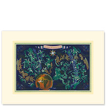 Aviation Sky Map, Star Constellations and Zodiac - Premium Vintage Collectible Blank Greeting Card