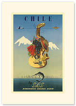 Scandinavian Airlines Chile, Gaucho Guitar - Premium Vintage Collectible Blank Greeting Card