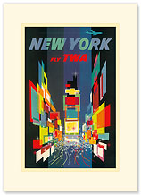 Fly TWA New York - Times Square - Premium Vintage Collectible Blank Greeting Card