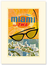 Fly TWA Miami - Sunglasses - Premium Vintage Collectible Blank Greeting Card