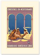 Hamburg Amerika Linie, Croisieres en Mediterranee - Premium Vintage Collectible Blank Greeting Card