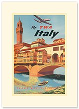 Fly TWA Italy, Florence Bridge - Premium Vintage Collectible Blank Greeting Card