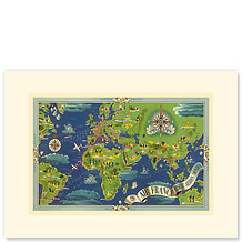 Air France, World Flight Routes Map - Premium Vintage Collectible Blank Greeting Card