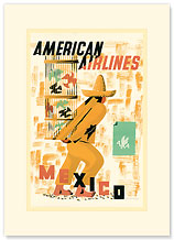 American Airlines - Mexico - Premium Vintage Collectible Blank Greeting Card