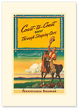 Pennsylvania Railroad, Coast to Coast Daily - Premium Vintage Collectible Blank Greeting Card