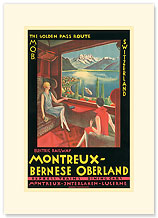 Montreux - Bernese Oberland Railway, Switzerland - Premium Vintage Collectible Blank Greeting Card