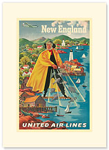 United Airlines - New England Fisherman - Premium Vintage Collectible Blank Greeting Card
