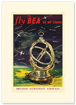 British European Airways: Fly BEA at All Times - Premium Vintage Collectible Blank Greeting Card