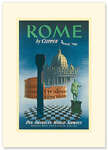 Pan American: Rome by Clipper - Vatican and Coliseum - Premium Vintage Collectible Blank Greeting Card