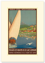 PLM Paris-Lyon-Mediterranee EVIAN LES BAINS, France - Premium Vintage Collectible Blank Greeting Card