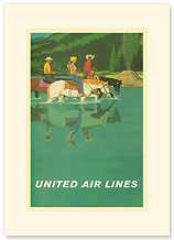 United Air Lines: Horse Back Riders - Premium Vintage Collectible Blank Greeting Card