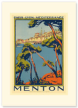 Menton, Paris - Lyon - Mediterrenee: France Railway Company - Premium Vintage Collectible Blank Greeting Card