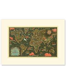 Air France, Global Network Map - Premium Vintage Collectible Blank Greeting Card