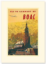 British Overseas Airways Corporation: Fly to Germany by BOAC - Premium Vintage Collectible Blank Greeting Card
