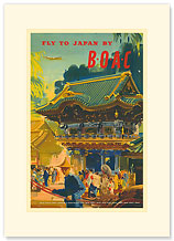 British Overseas Airways Corporation: Fly to Japan by BOAC - Premium Vintage Collectible Blank Greeting Card