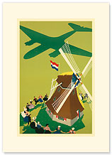 KLM Royal Dutch Airlines: Holland Windmill - Premium Vintage Collectible Blank Greeting Card