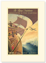 KLM Royal Dutch Airlines: The Flying Dutchman - Premium Vintage Collectible Blank Greeting Card