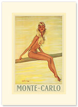 Monte-Carlo Blonde Girl, France - Premium Vintage Collectible Blank Greeting Card
