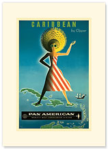 Carribean By Clipper - Premium Vintage Collectible Blank Greeting Card