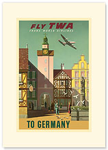 TWA Airlines: Fly TWA to Germany - Premium Vintage Collectible Blank Greeting Card