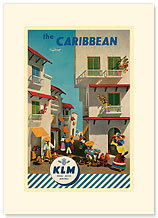 KLM Royal Dutch Airlines: The Caribbean - Premium Vintage Collectible Blank Greeting Card