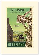 TWA Airlines: Fly TWA to Ireland - Premium Vintage Collectible Blank Greeting Card