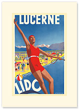 Lido, Lake Lucerne, Switzerland - Premium Vintage Collectible Blank Greeting Card