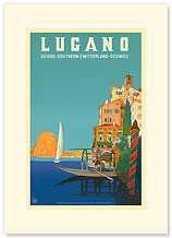 Swiss Italian Resort, Lugano, Switzerland - Premium Vintage Collectible Blank Greeting Card
