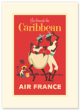 Aviation: Fly Through the Caribbean - Premium Vintage Collectible Blank Greeting Card