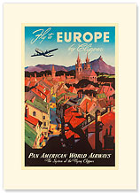 Pan American: Fly to Europe by Clipper - Premium Vintage Collectible Blank Greeting Card