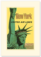 United Air Lines: New York Statue of Liberty - Premium Vintage Collectible Blank Greeting Card