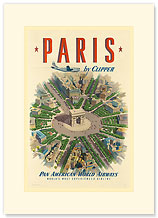 Pan American: Paris by Clipper Arch of Triumph - Premium Vintage Collectible Blank Greeting Card