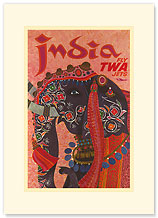 Trans World Airlines: India - Fly TWA Jets - Premium Vintage Collectible Blank Greeting Card