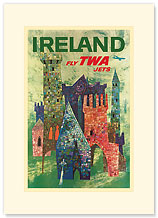 Trans World Airlines: Ireland - Fly TWA Jets - Premium Vintage Collectible Blank Greeting Card