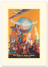 Round The World By Clipper - Premium Vintage Collectible Blank Greeting Card