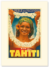 Tahiti, La Perle du Pacifique - Premium Vintage Collectible Blank Greeting Card