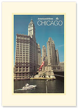 American Airlines: Chicago - Premium Vintage Collectible Blank Greeting Card