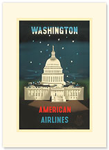 American Airlines: Washington - Premium Vintage Collectible Blank Greeting Card