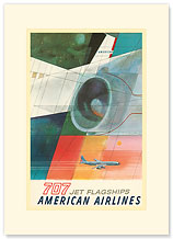American Airlines: 707 Jet Flagships - Premium Vintage Collectible Blank Greeting Card