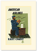 American Airlines: East Coast - Premium Vintage Collectible Blank Greeting Card