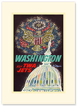 Trans World Airlines: Washington - Fly TWA Jets - Premium Vintage Collectible Blank Greeting Card