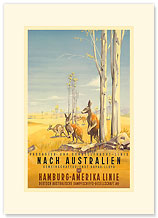 Hamburg America Line: Australian Outback - Premium Vintage Collectible Blank Greeting Card