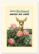 United Air Lines: Pacific Northwest - Premium Vintage Collectible Blank Greeting Card