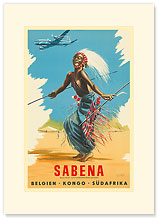 Sabena Airlines, Belgium - Congo - S.Africa - Premium Vintage Collectible Blank Greeting Card