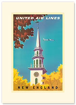 United Air Lines: New England - Premium Vintage Collectible Blank Greeting Card