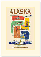 Alaska Airlines: Alaska - Golden Nugget Service - Premium Vintage Collectible Blank Greeting Card