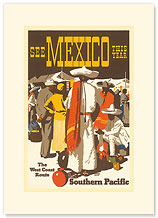 Southern Pacific Railroad: See Mexico This Year - Premium Vintage Collectible Blank Greeting Card