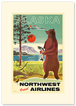 Alaska Northwest Orient Airlines - Premium Vintage Collectible Blank Greeting Card