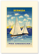 Pan Am, Bermuda Sailboats via Jet Clippers - Premium Vintage Collectible Blank Greeting Card
