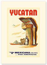 Mexicana Airlines via Pan American: Yucatan - Premium Vintage Collectible Blank Greeting Card